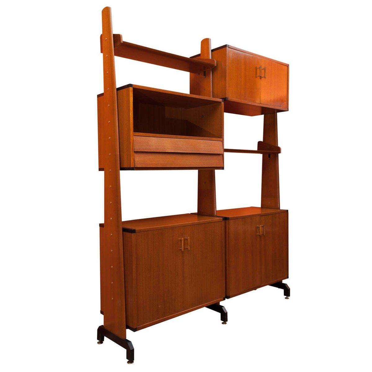 verstellbares italienisches regalsystem aus holz 1960er bei pamono kaufen. Black Bedroom Furniture Sets. Home Design Ideas