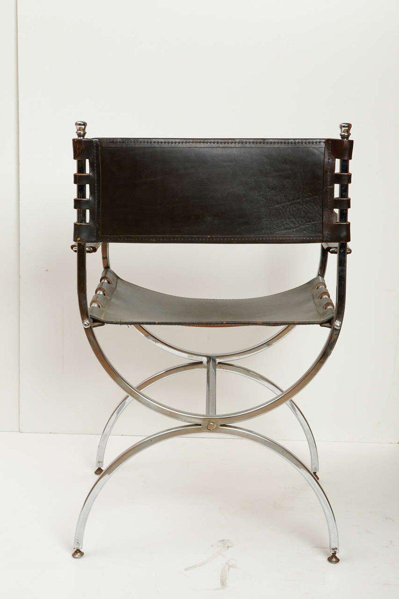 chaise vintage en fer et cuir 1970s en vente sur pamono. Black Bedroom Furniture Sets. Home Design Ideas