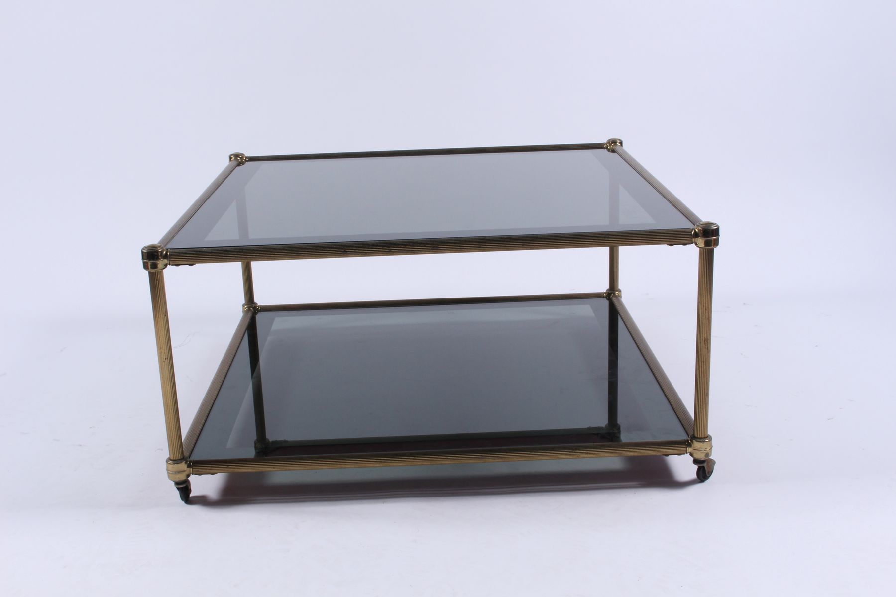 Vintage two tiered gilt metal coffee table for sale at pamono vintage two tiered gilt metal coffee table geotapseo Image collections