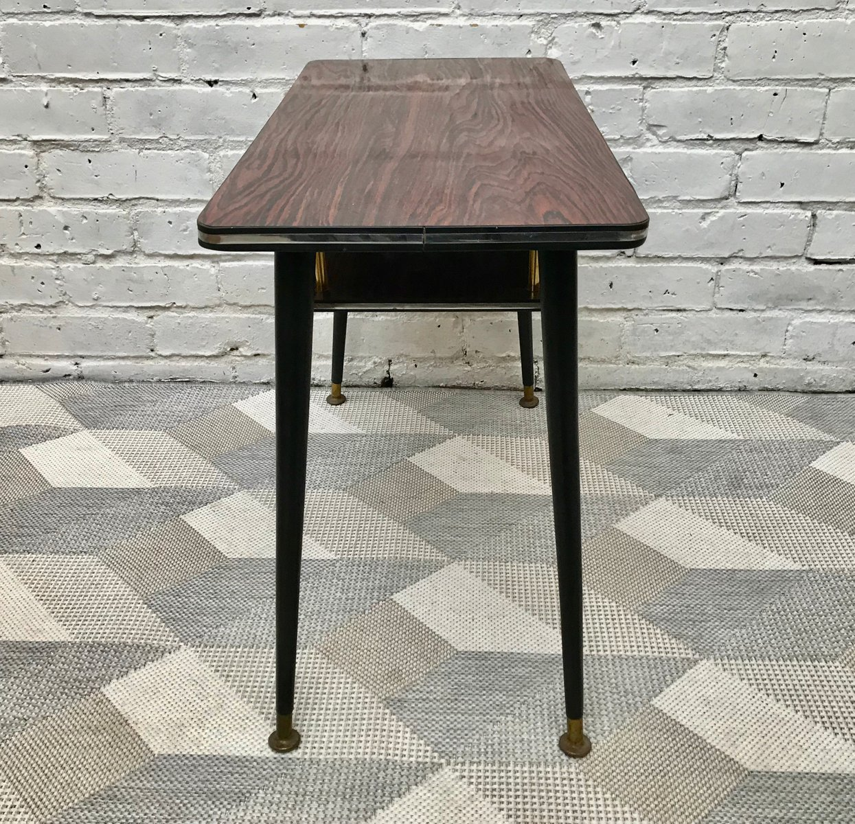 Small Vintage Side Coffee Table With Lower Shelf For Sale