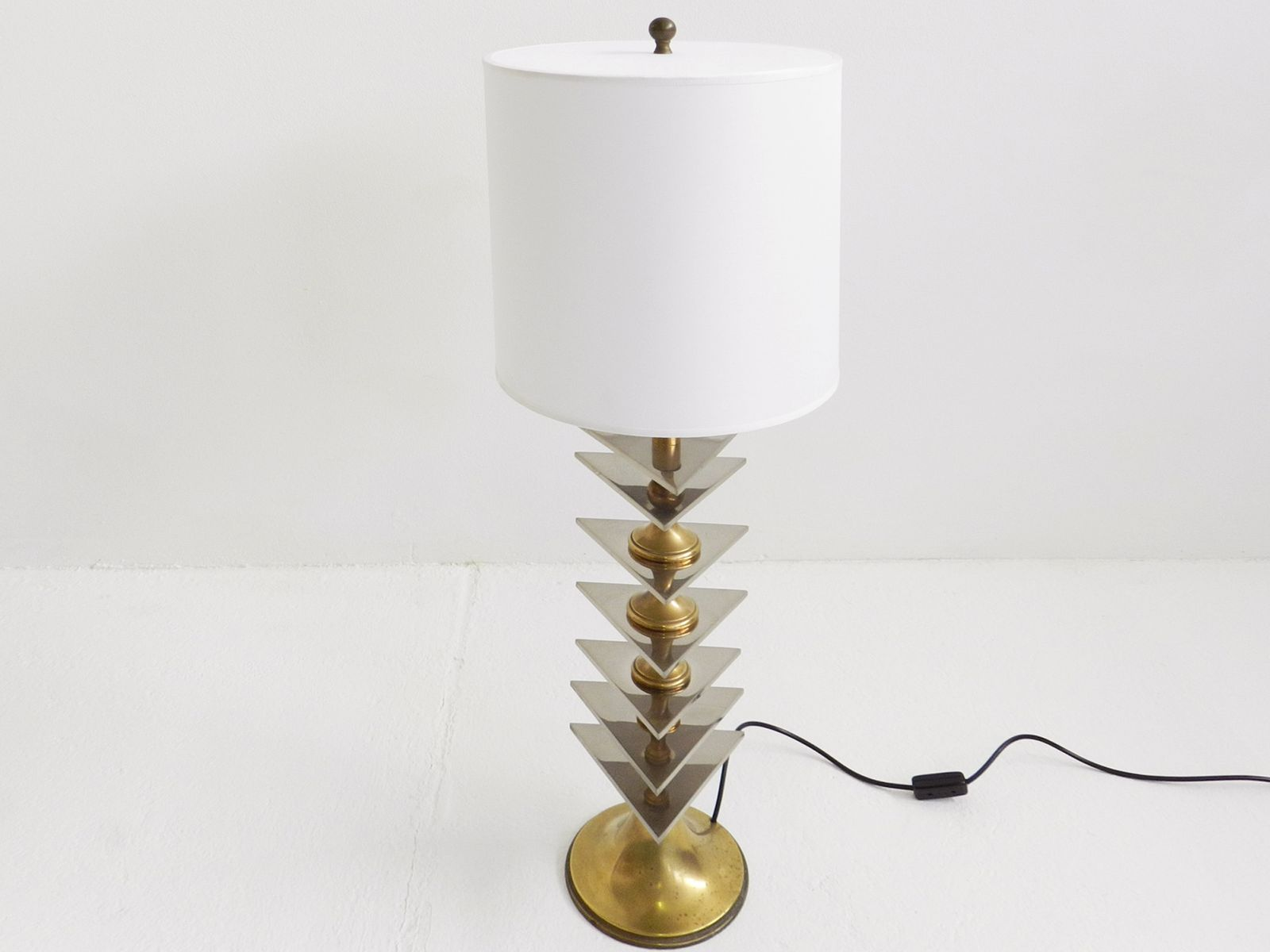 Large italian brass and stainless steel table lamp s