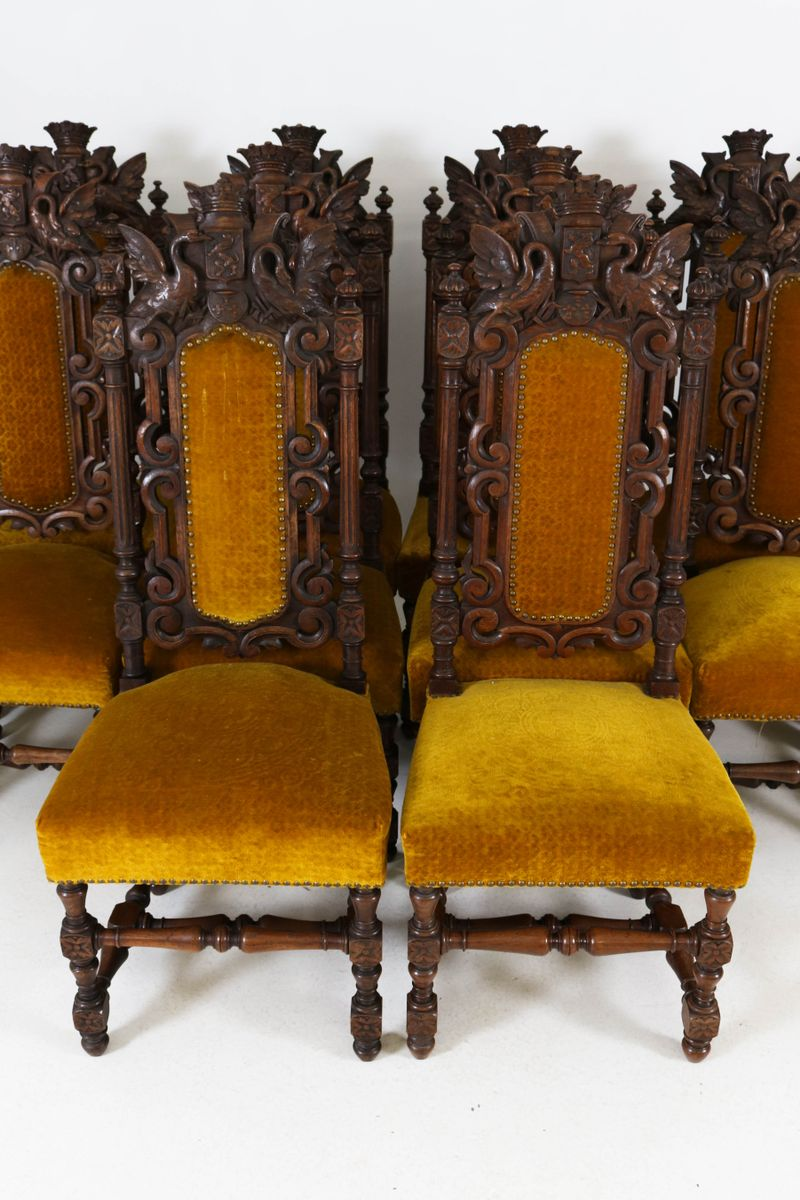 Renaissance Revival Hand Carved Oak Chairs With Crowns, 1880s, Set Of 12