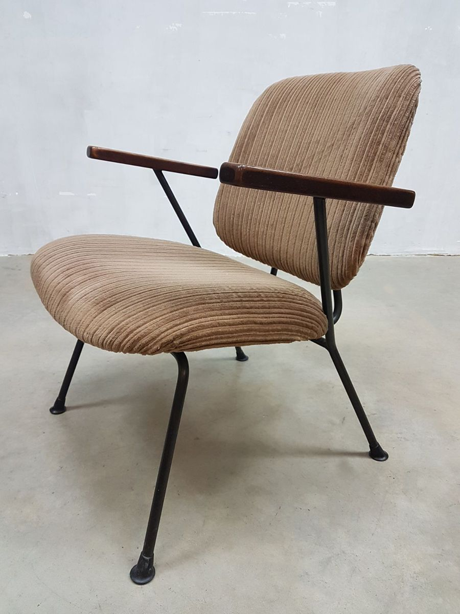vintage industrial lounge chairs by w.h. gispen for kembo, set of
