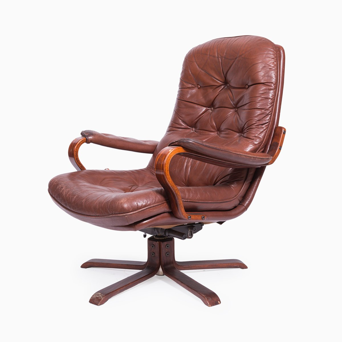 Vintage Swivel Leather Armchair, 1970s for sale at Pamono