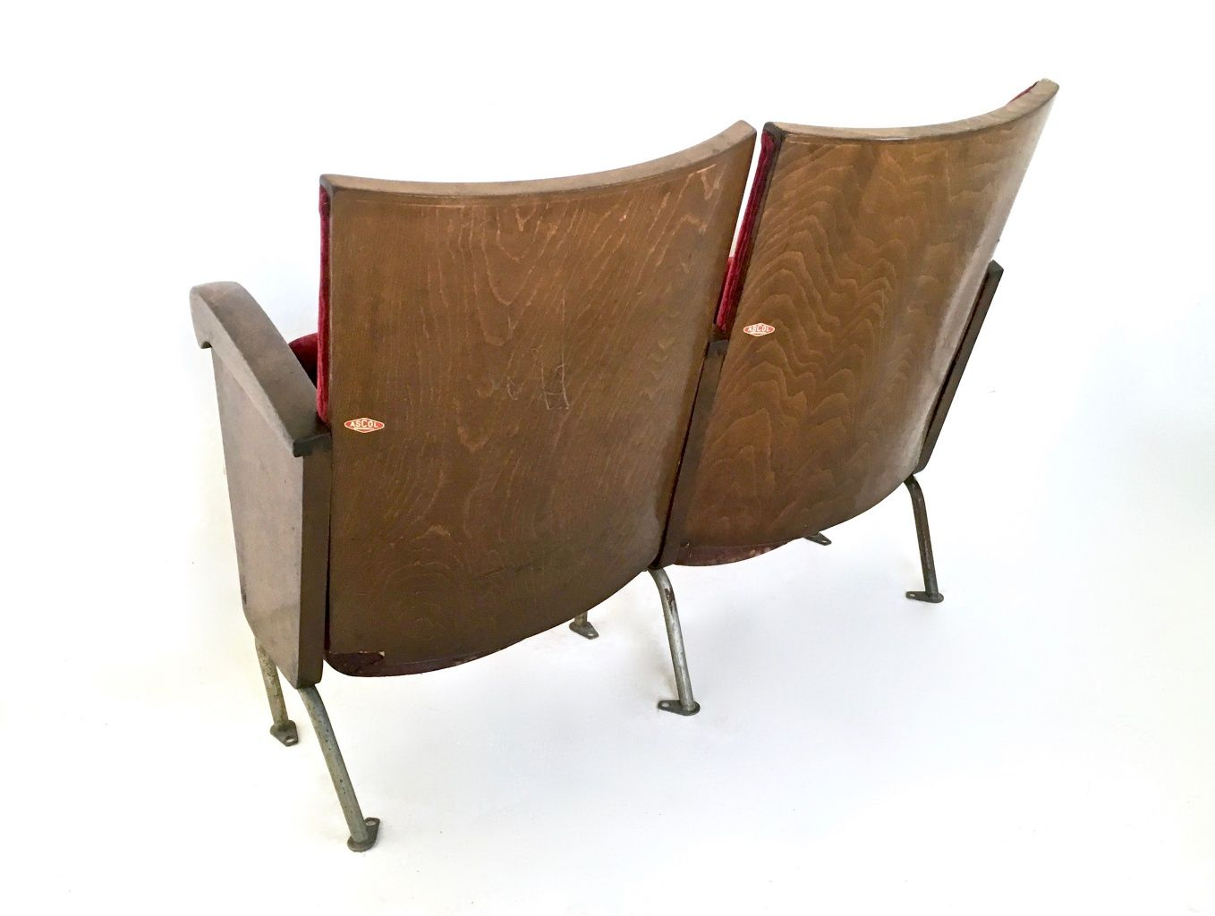 Red Velvet Cinema Seats from Ascol, 1950s for sale at Pamono