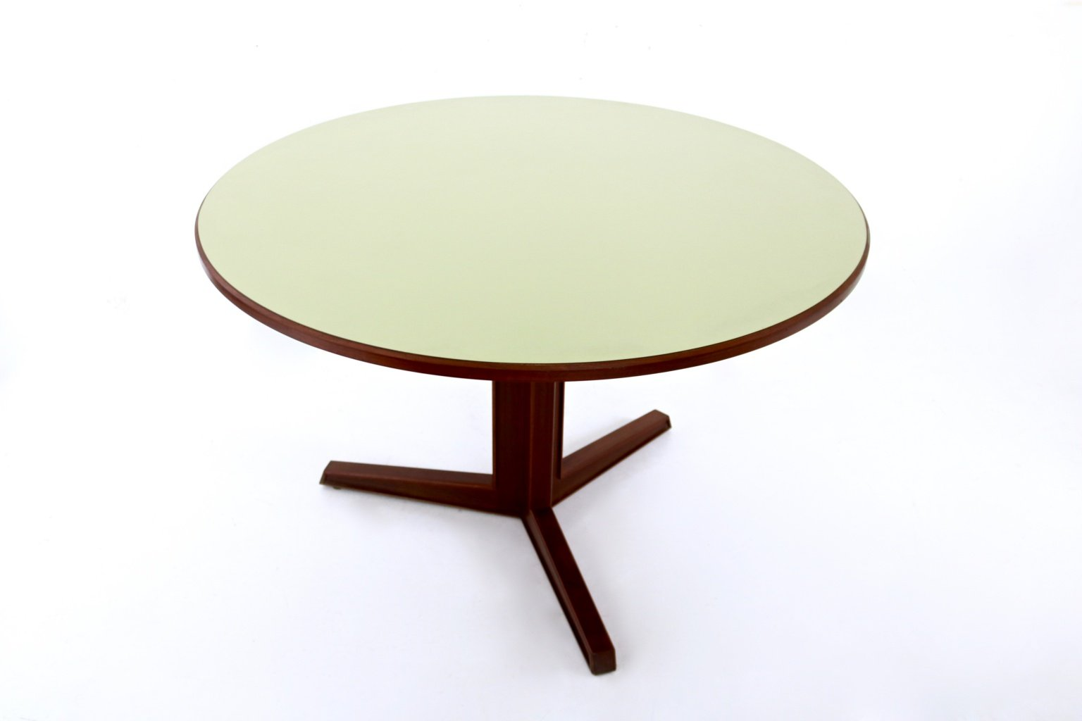 Round Mahogany Formica Dining Table 1970s for sale at Pamono