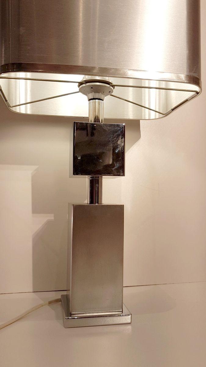 lampe de bureau en chrome et aluminium bross 1970s en. Black Bedroom Furniture Sets. Home Design Ideas