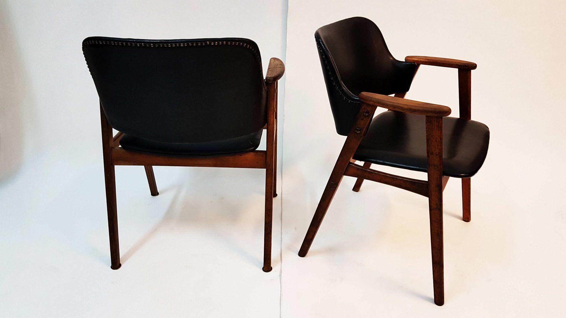 Scandinavian Teak and Black Skai Office Armchair, 1960s for sale ...