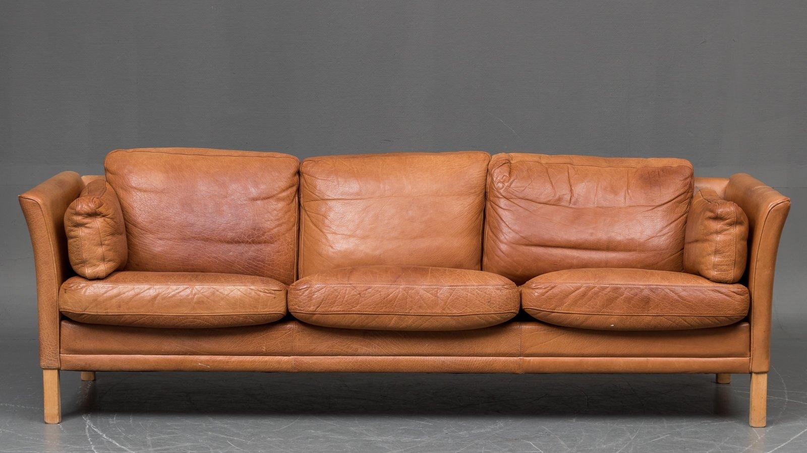 D Nisches Vintage 3 Sitzer Sofa In Braunem B Ffelleder Bei Pamono Kaufen