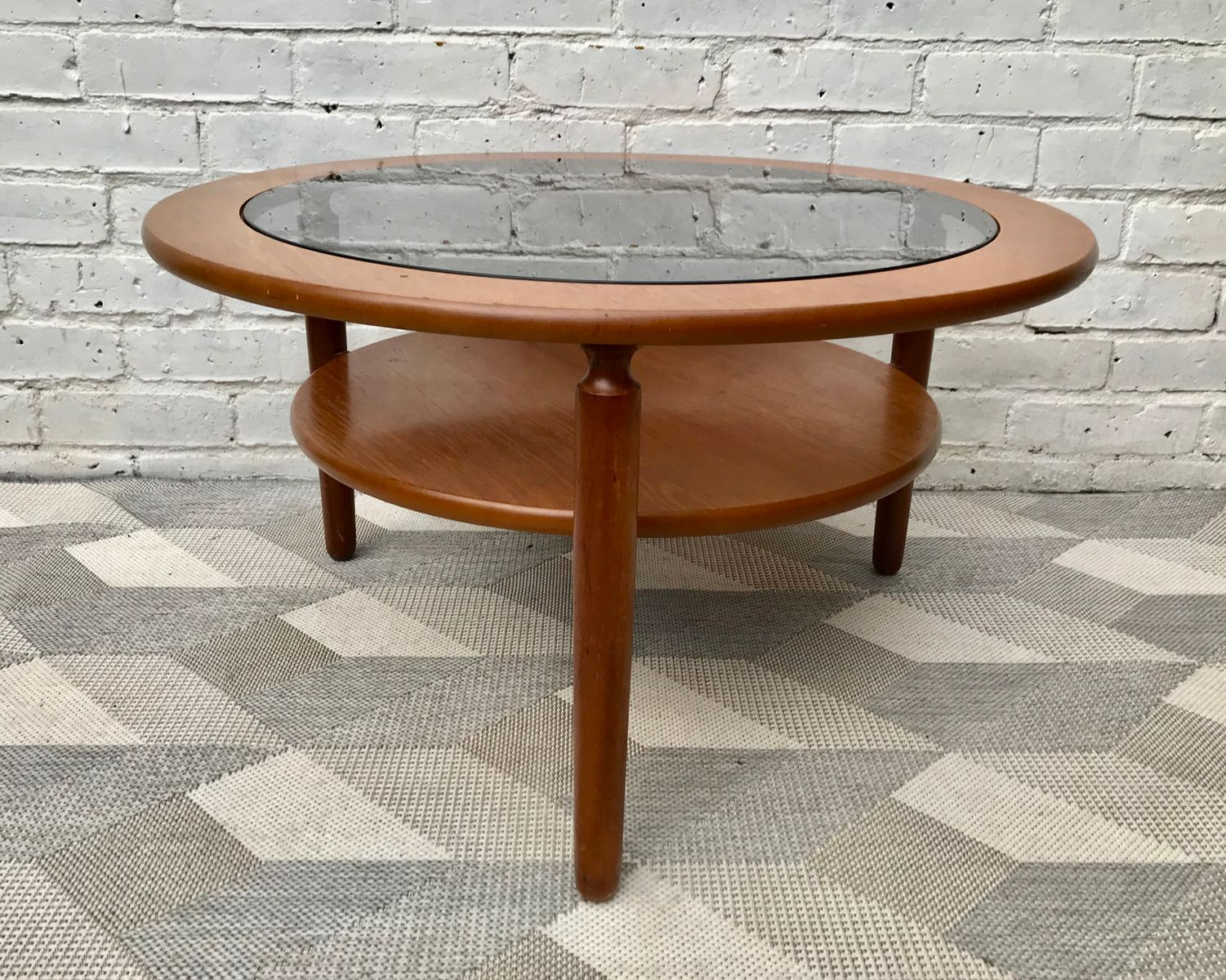 Vintage Round Coffee Table With Glass For Sale At Pamono
