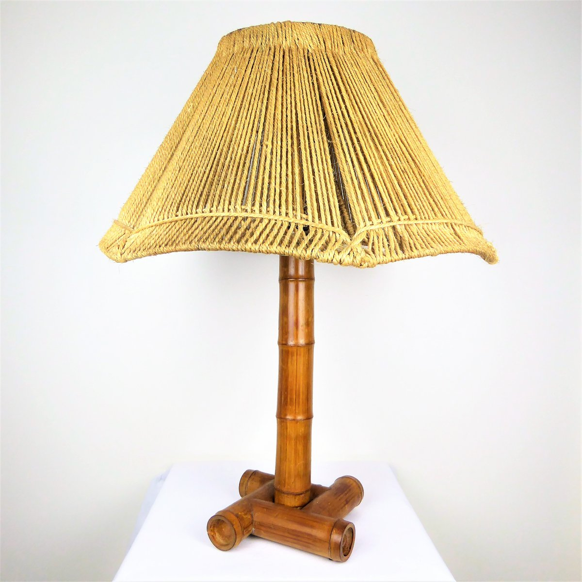Bamboo Lamp with Rope Shade, 1950s for sale at Pamono
