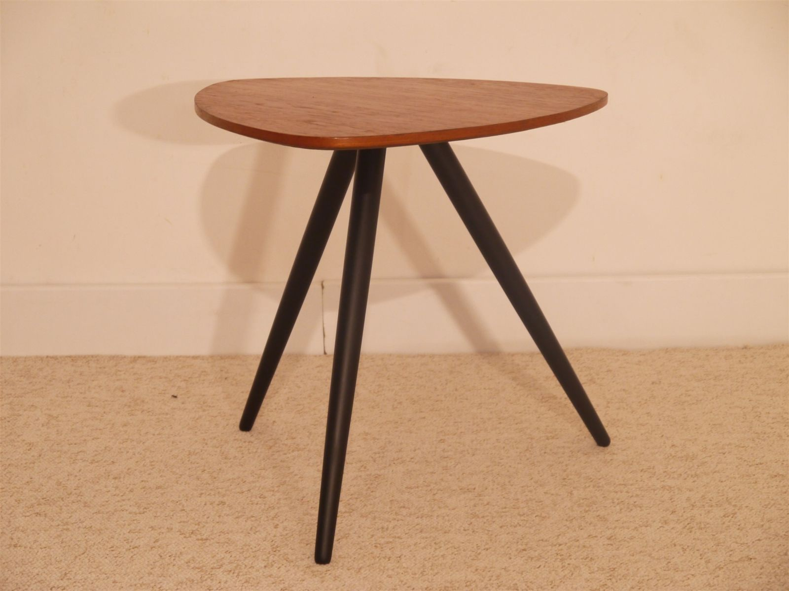 vintage scandinavian tripod side table in teak for sale at