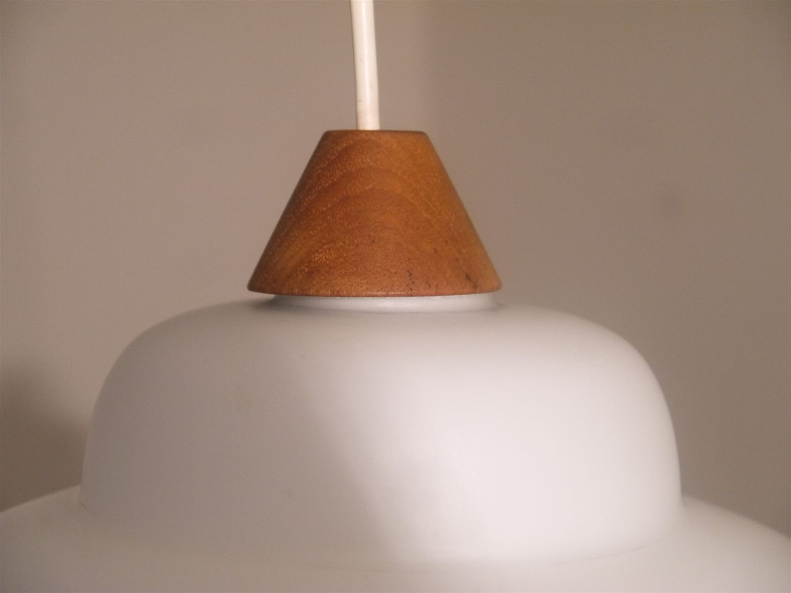 Small vintage teak and opaline glass suspension lamp for for Suspension a 3 lampes