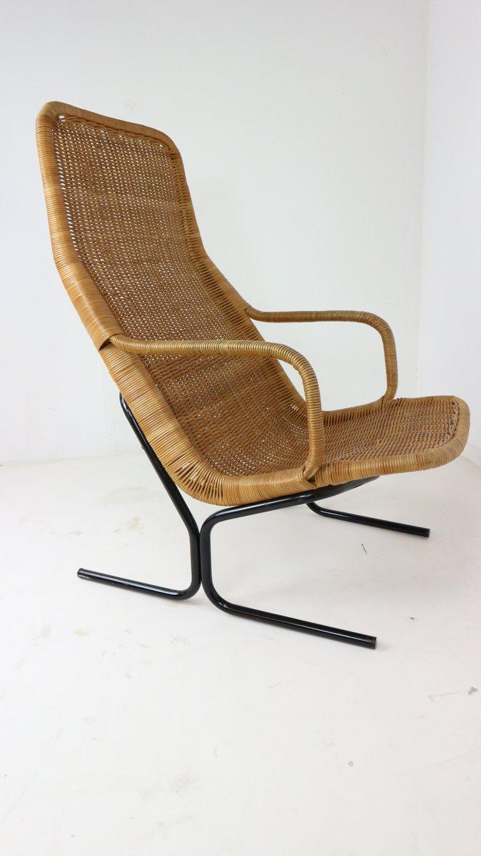 vintage 514 wicker lounge chair with ottoman by dirk van sliedrecht for roh noordwolde for sale. Black Bedroom Furniture Sets. Home Design Ideas