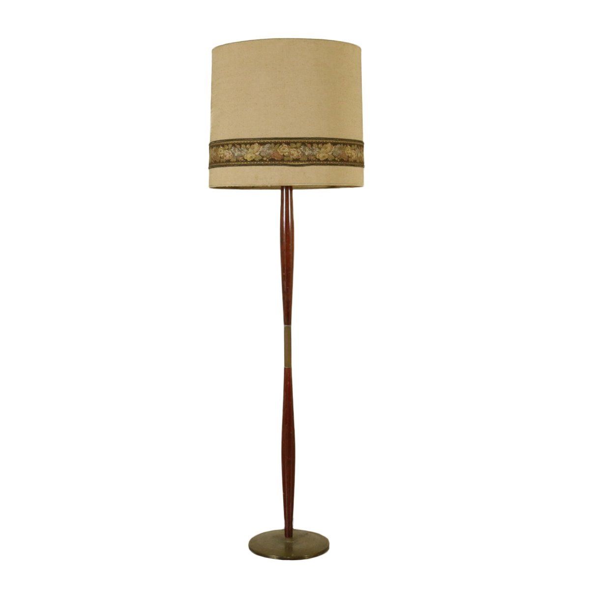 Wood and brass floor lamp 1950s for sale at pamono for Wooden floor lamp for sale