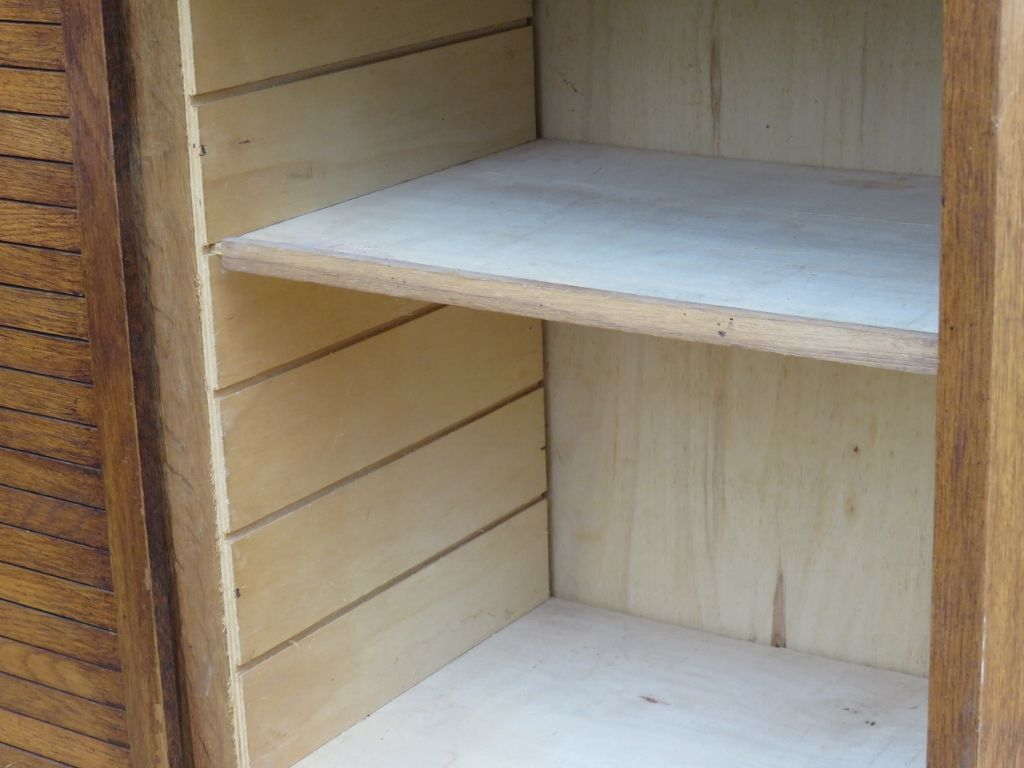 Triple oak tambour front haberdashery cabinet 1940s for for 1940s kitchen cabinets for sale