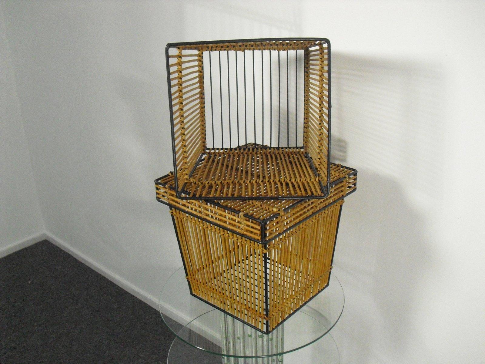 niederl ndische k rbe aus rattan stahl von roh noordwolde 1950er 2er set bei pamono kaufen. Black Bedroom Furniture Sets. Home Design Ideas