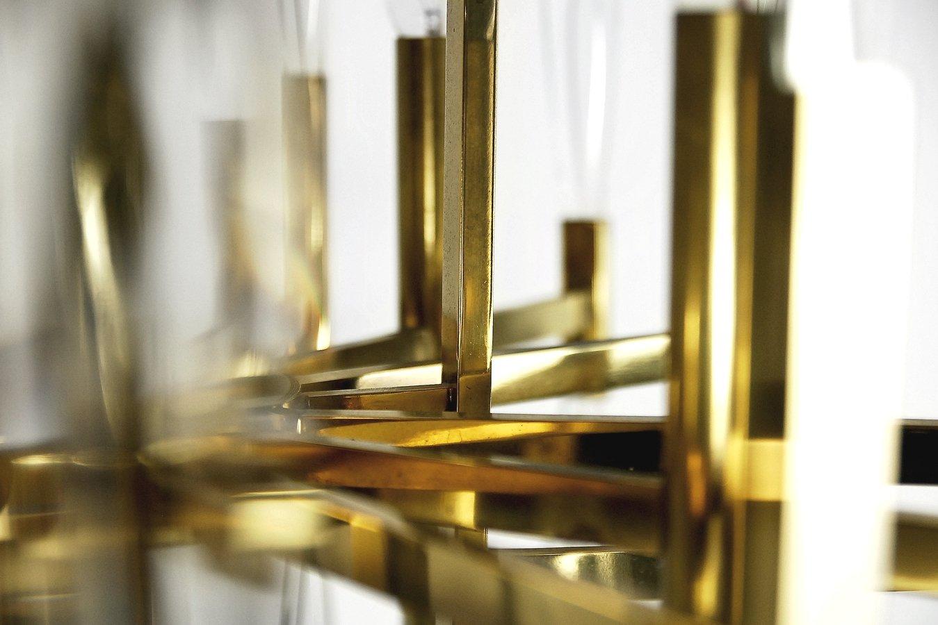 italienischer kronleuchter aus messing mit eiszapfen aus glas von gaetano sciolari 1970er bei. Black Bedroom Furniture Sets. Home Design Ideas