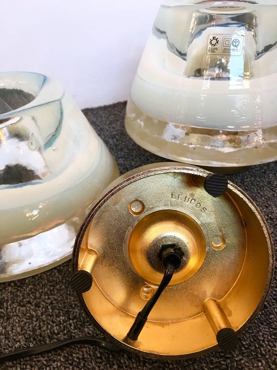 italienische lampen aus murano glas von leucos 1980er 2er set bei pamono kaufen. Black Bedroom Furniture Sets. Home Design Ideas
