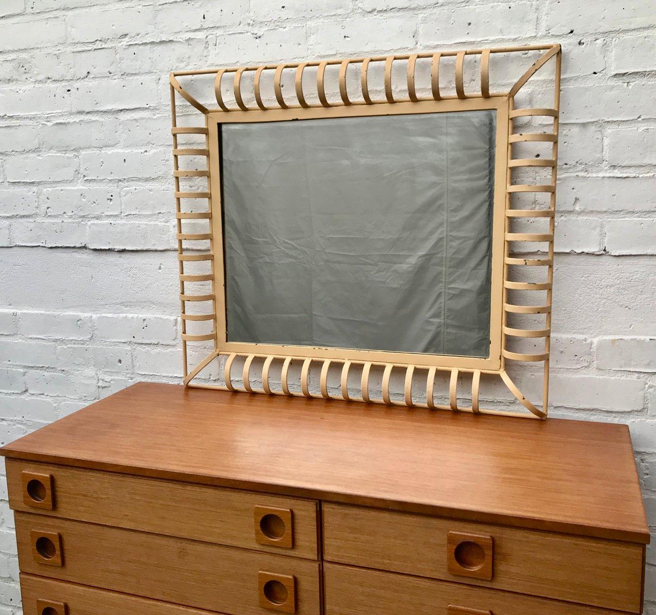 industrieller rechteckiger vintage wanspiegel mit metallrahmen bei pamono kaufen. Black Bedroom Furniture Sets. Home Design Ideas