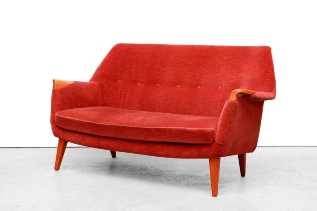 Mid Century Danish Red Velvet Sofa For Sale At Pamono