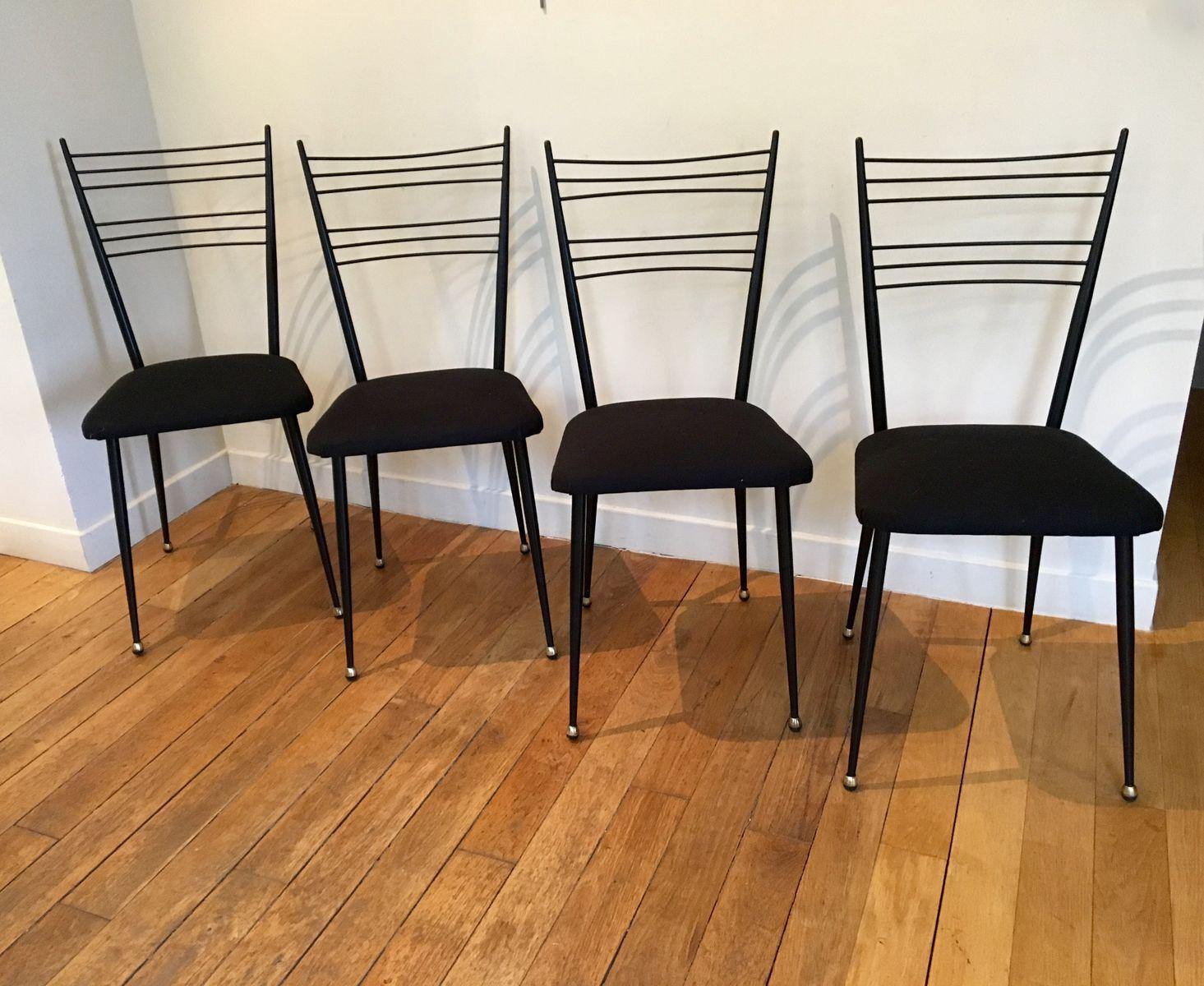schwarze metallische st hle 1950er 4er set bei pamono kaufen. Black Bedroom Furniture Sets. Home Design Ideas