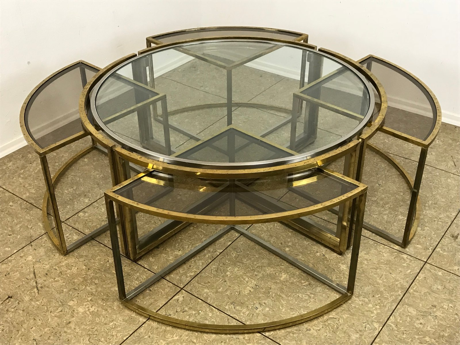 Vintage coffee table in brass and chrome with 4 nesting tables for vintage coffee table in brass and chrome with 4 nesting tables geotapseo Choice Image