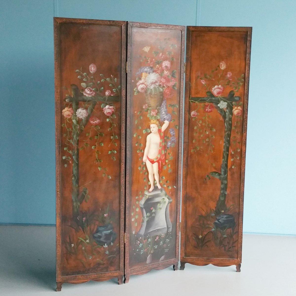 antiker handbemalter raumteiler aus holz bei pamono kaufen. Black Bedroom Furniture Sets. Home Design Ideas