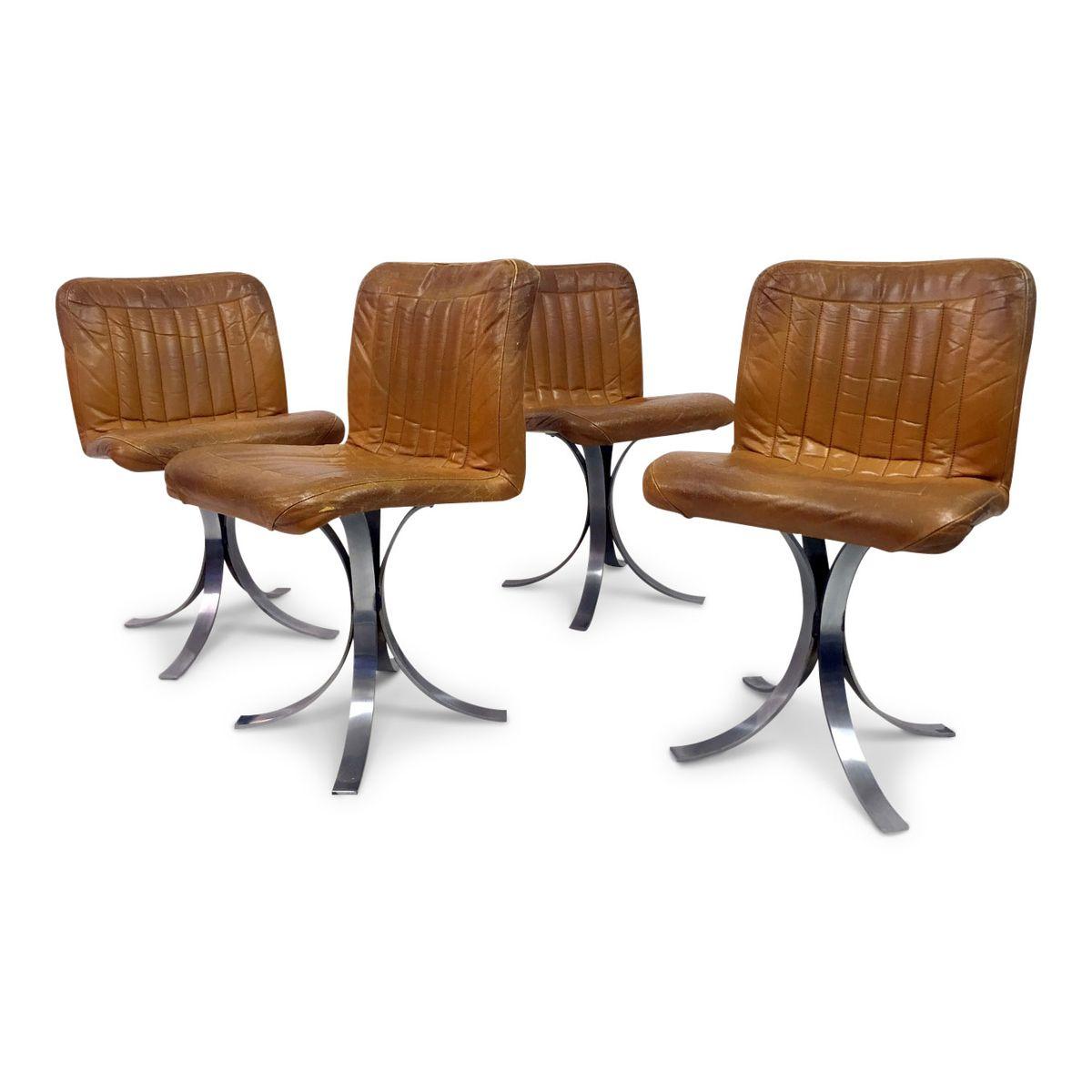 franz sische esszimmerst hle aus leder und chrom von flox 1970er 4er set bei pamono kaufen. Black Bedroom Furniture Sets. Home Design Ideas