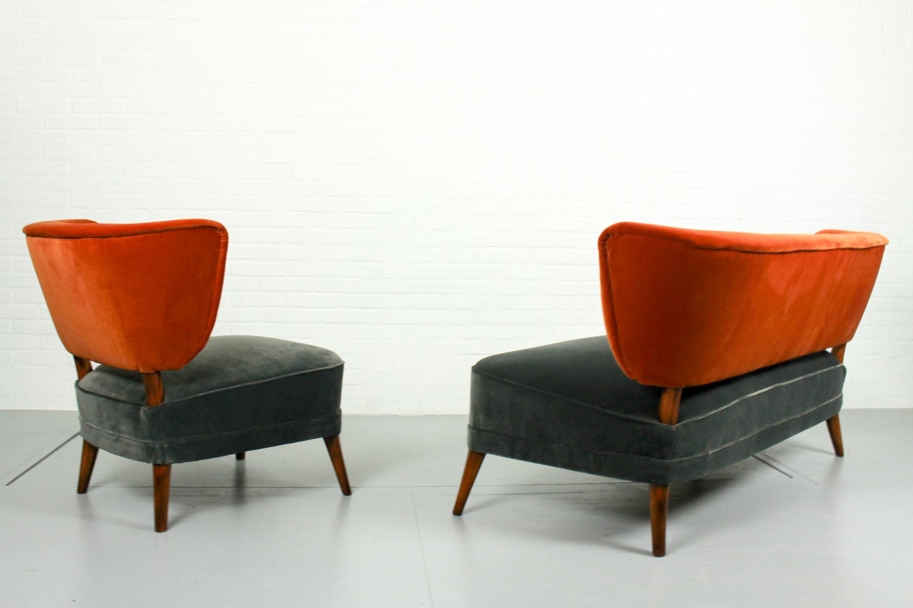 Vintage Velvet Cocktail Chair And Matching Sofa 1950s Set Of 2 For Sale At Pamono
