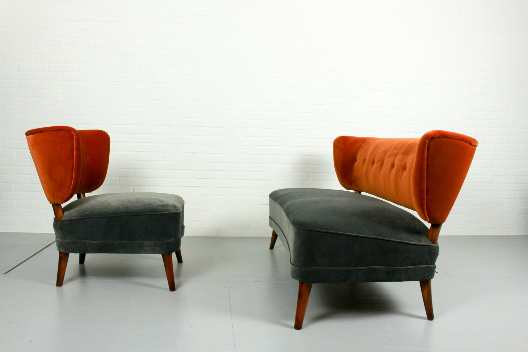 Vintage Velvet Cocktail Chair And Matching Sofa 1950s