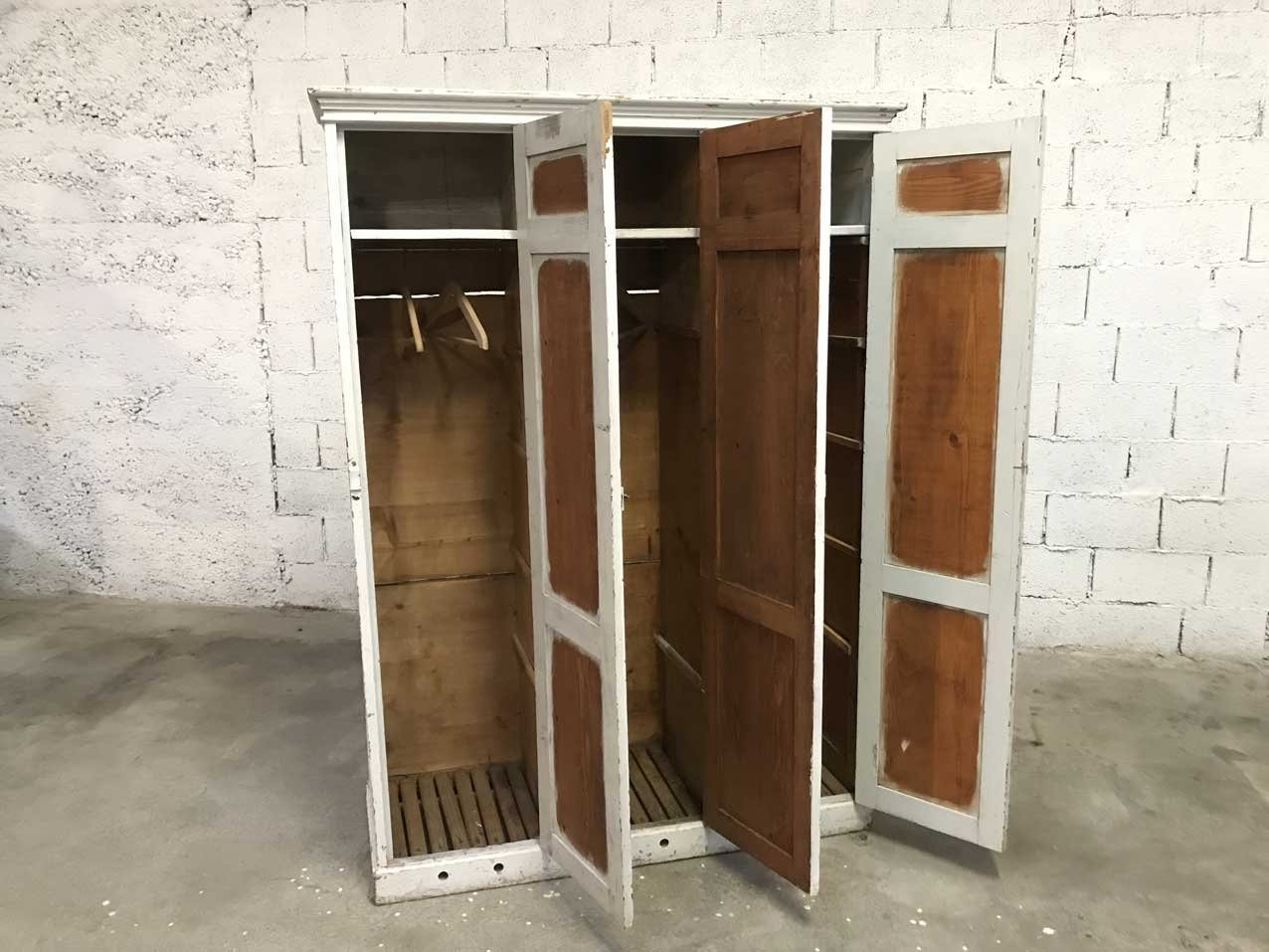 Vintage white wooden 3 door school locker for sale at pamono for Wood lockers with doors