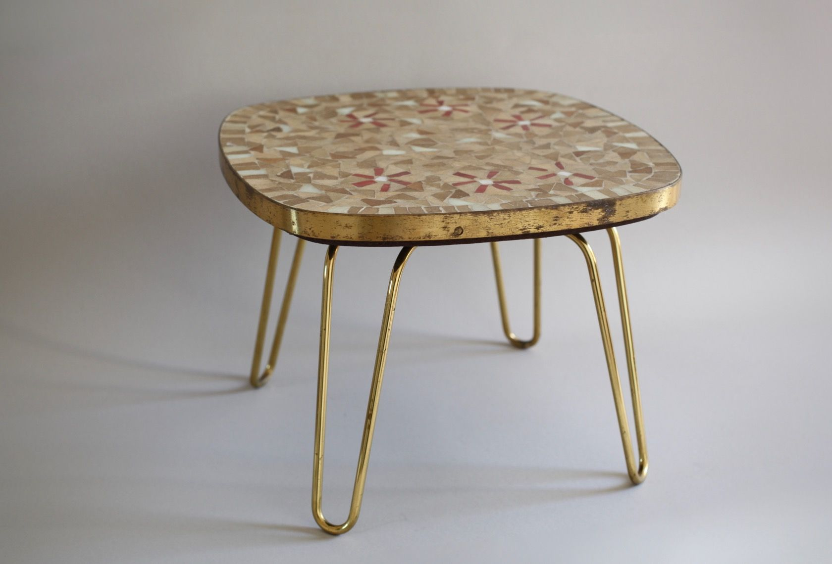vintage mosaic stool on hairpin legs from ilse m bel for. Black Bedroom Furniture Sets. Home Design Ideas