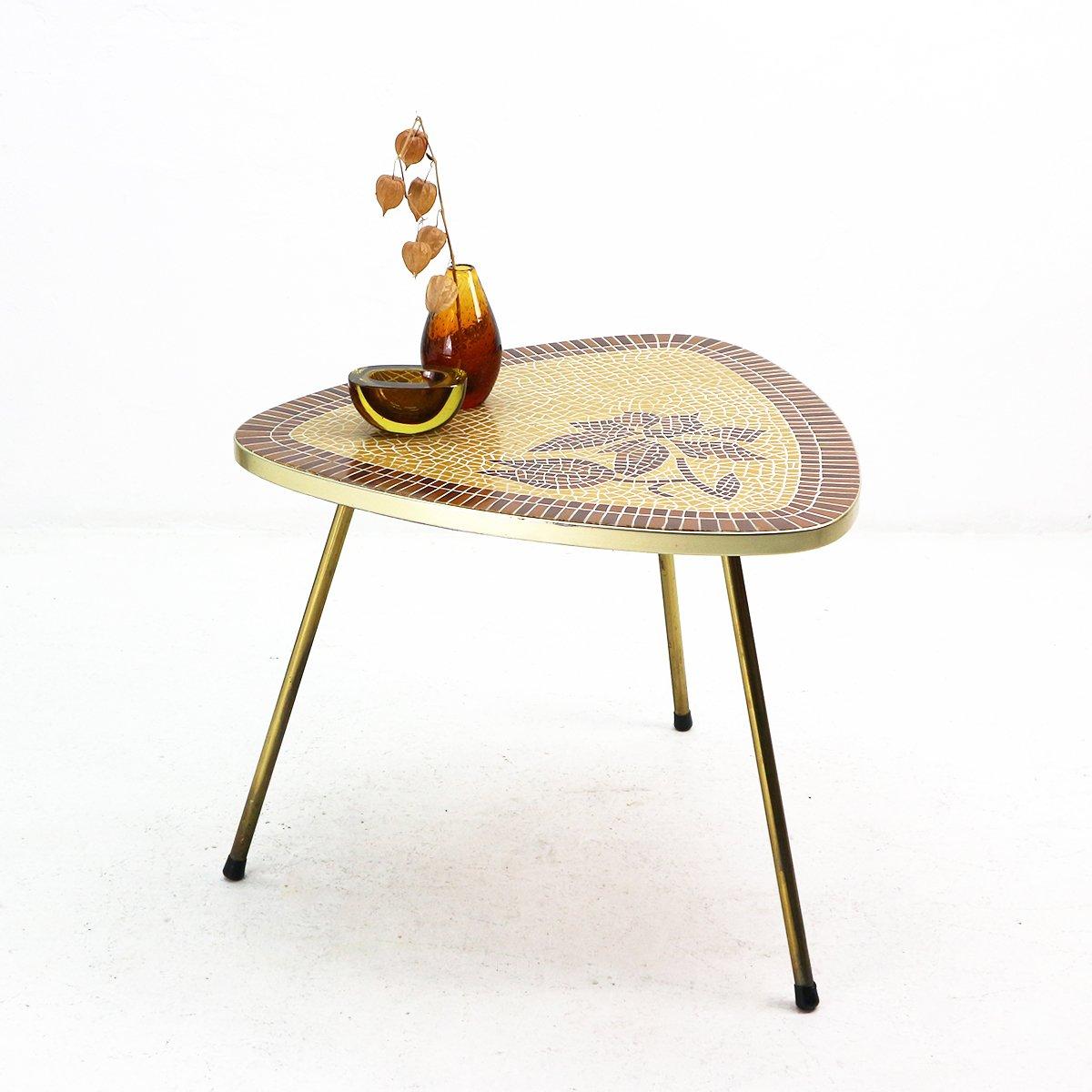 mosaik tisch mit rahmen aus messing 1950er bei pamono kaufen. Black Bedroom Furniture Sets. Home Design Ideas