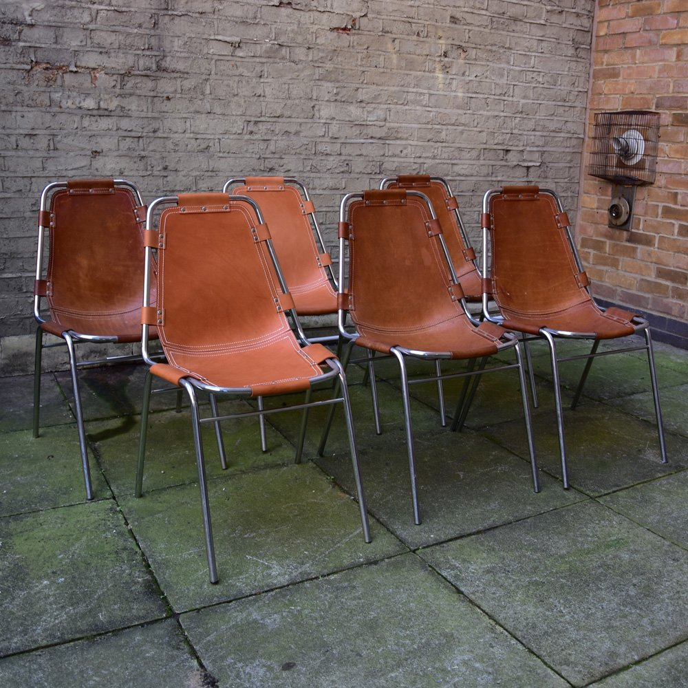 vintage les arcs chairs by charlotte perriand set of 6 for sale at pamono. Black Bedroom Furniture Sets. Home Design Ideas