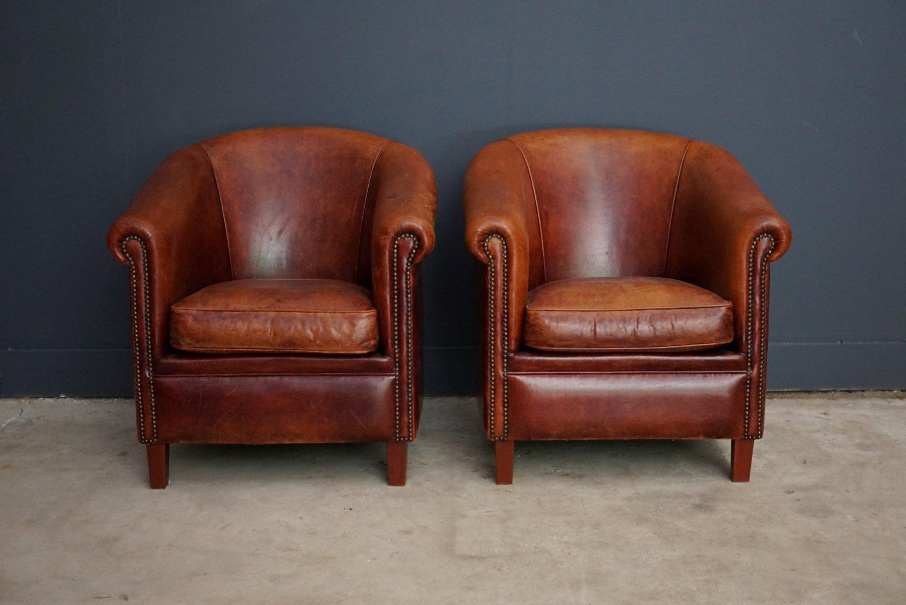 niederl ndische vintage cognac ledersessel 2er set bei. Black Bedroom Furniture Sets. Home Design Ideas