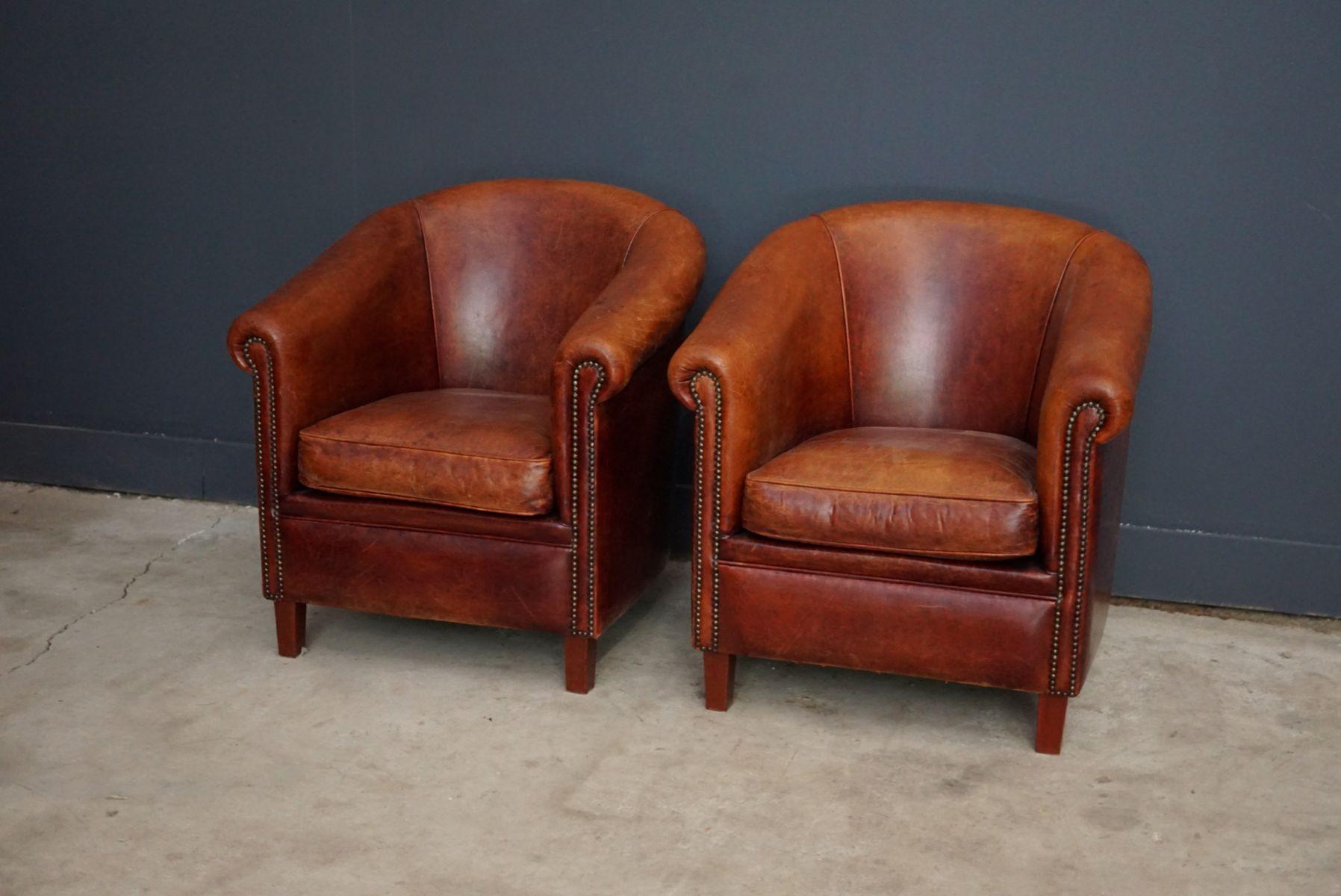 niederl ndische vintage cognac ledersessel 2er set bei pamono kaufen. Black Bedroom Furniture Sets. Home Design Ideas