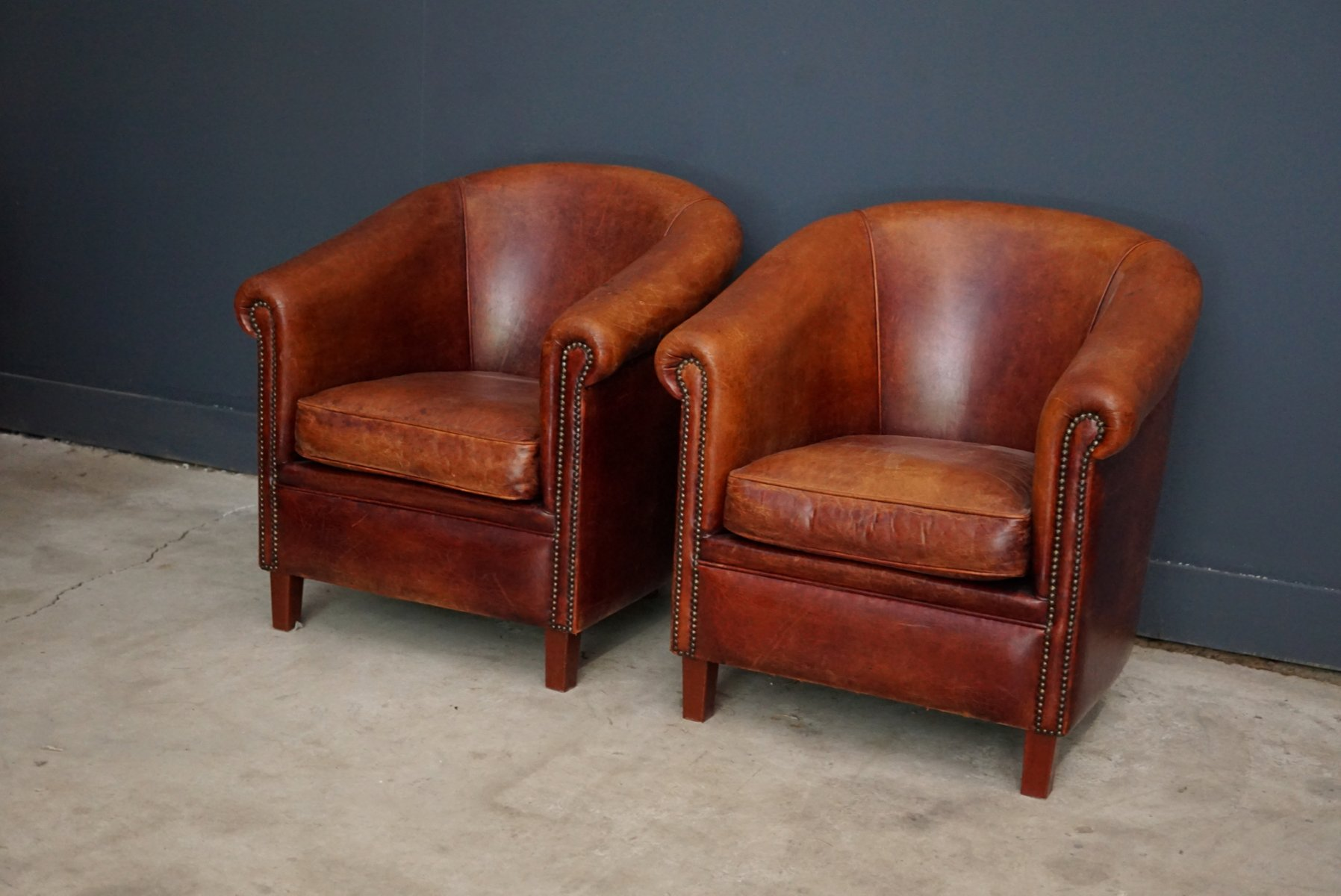 vintage dutch cognac leather club chairs set of 2 for. Black Bedroom Furniture Sets. Home Design Ideas