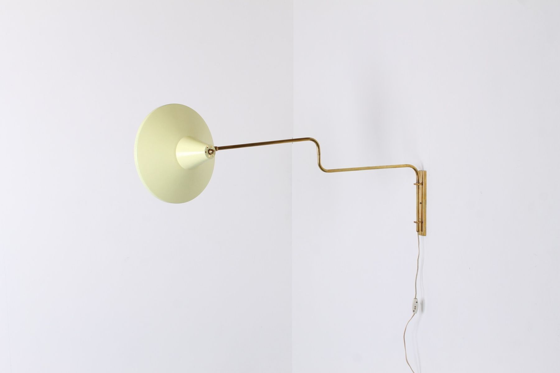 Paperclip Swinging Brass Yellow Wall Light, 1950s for sale at Pamono