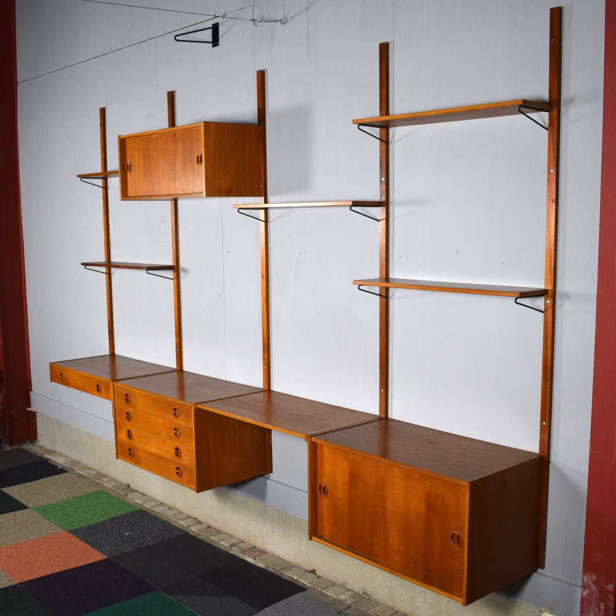 Scandinavian Modular Teak Wall Unit 1950s For Sale At Pamono