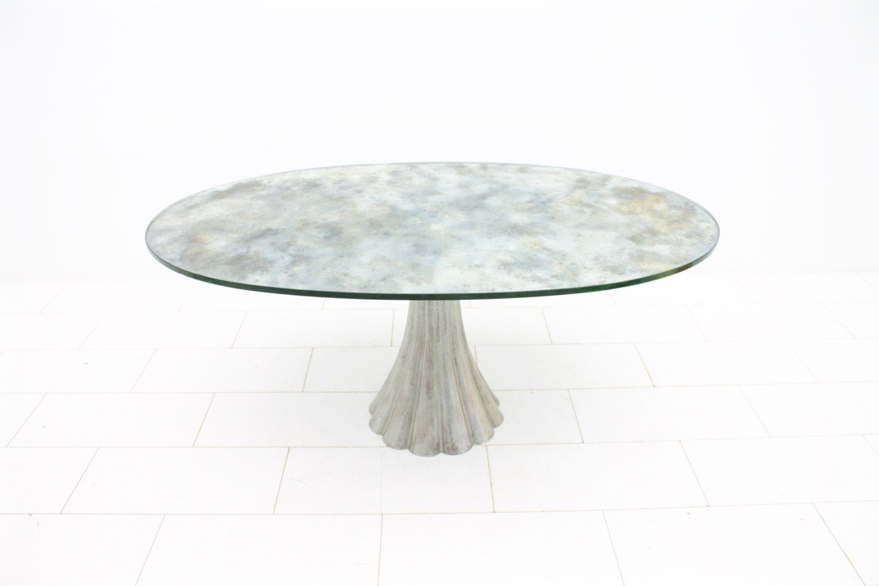 Oval Dining Table With Mirrored Glass Top 1970s For Sale At Pamono