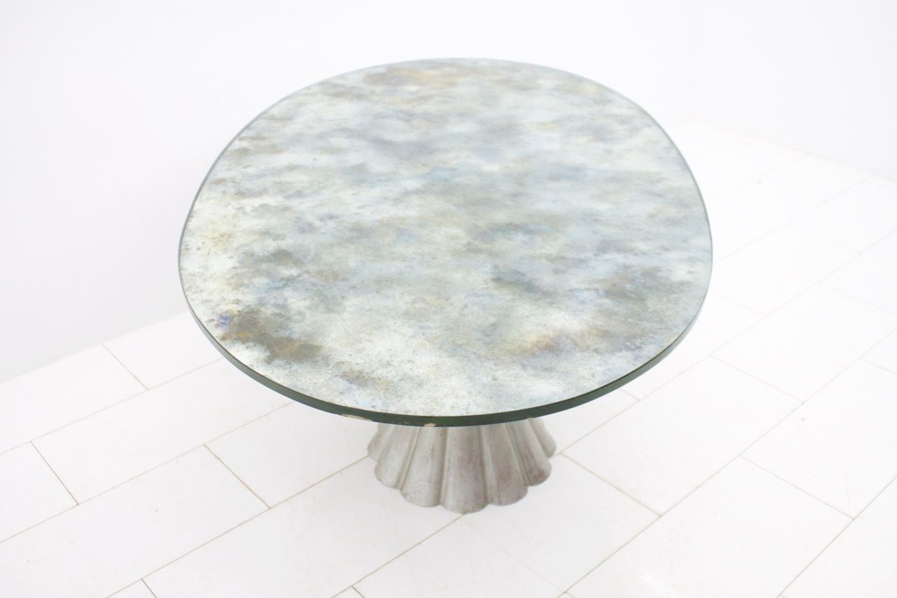 Oval Dining Table with Mirrored Glass Top 1970s for sale
