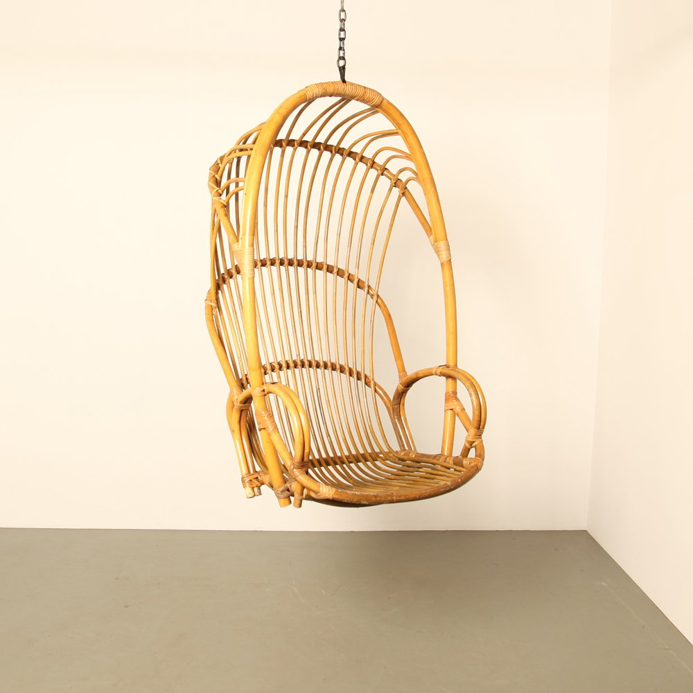 niederl ndischer rattan h ngesessel 1960er bei pamono kaufen. Black Bedroom Furniture Sets. Home Design Ideas