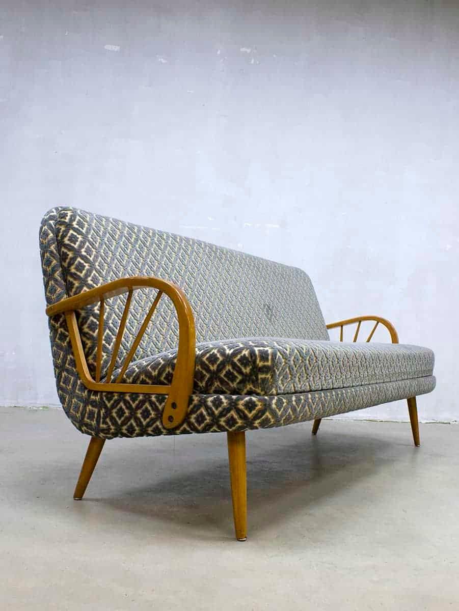 mid century sofa mit flockprint 1950er bei pamono kaufen. Black Bedroom Furniture Sets. Home Design Ideas