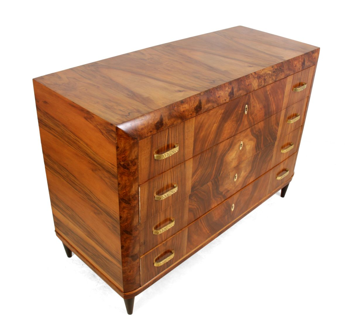 Vintage italian art deco walnut commode for sale at pamono for Commode miroir art deco