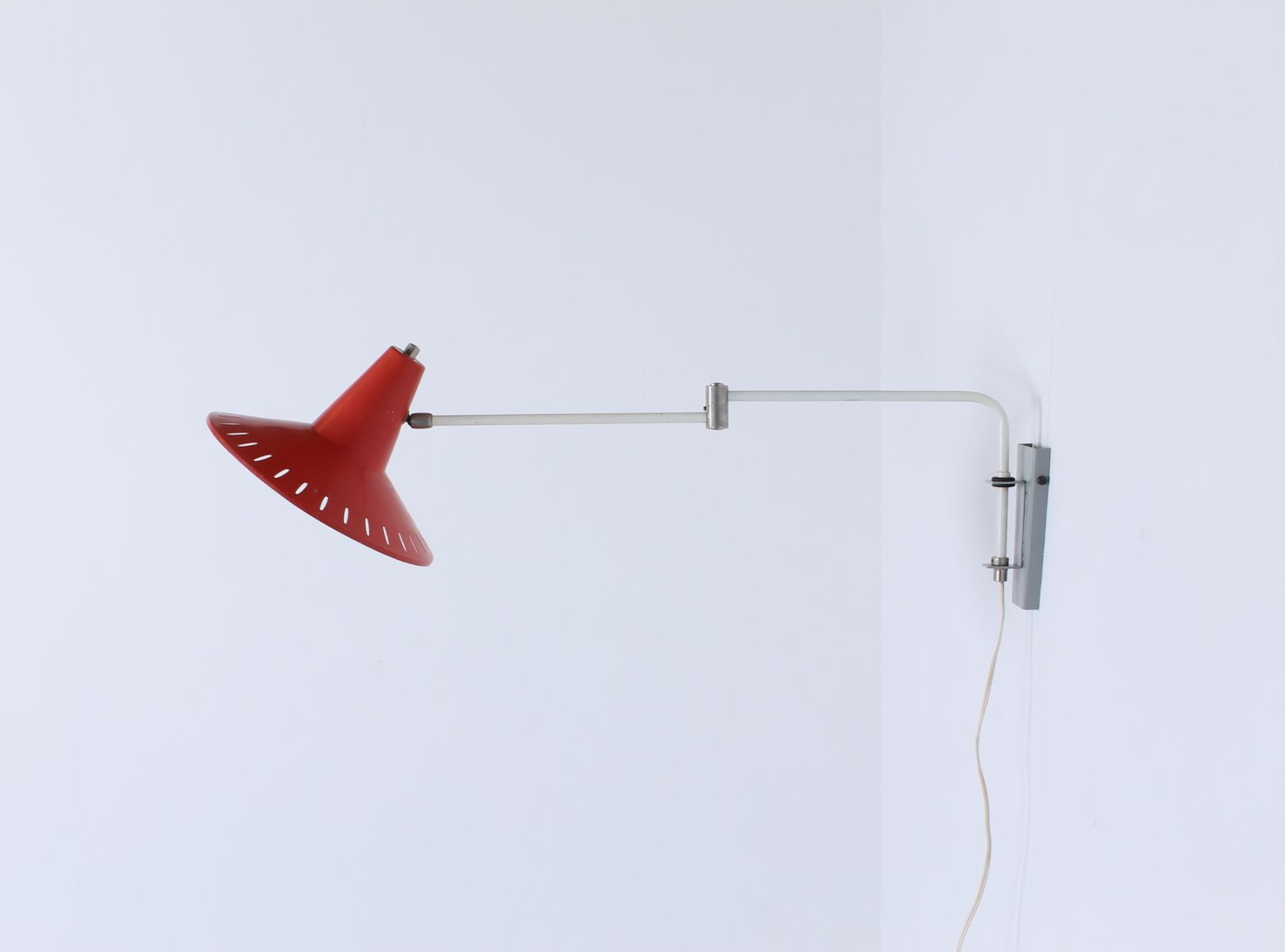 Adjustable Red Paperclip Wall Lamp 1950s For Sale At Pamono