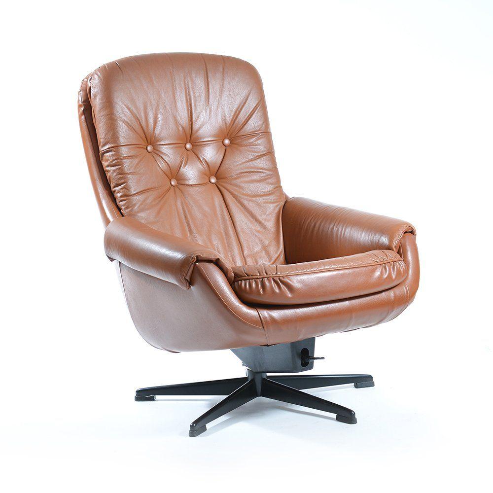 Poltrona girevole vintage in pelle di peem anni 39 60 in for Poltrona girevole design