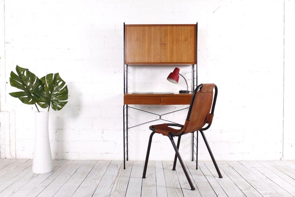 vintage string regal mit schreibtischeinheit von whb bei. Black Bedroom Furniture Sets. Home Design Ideas