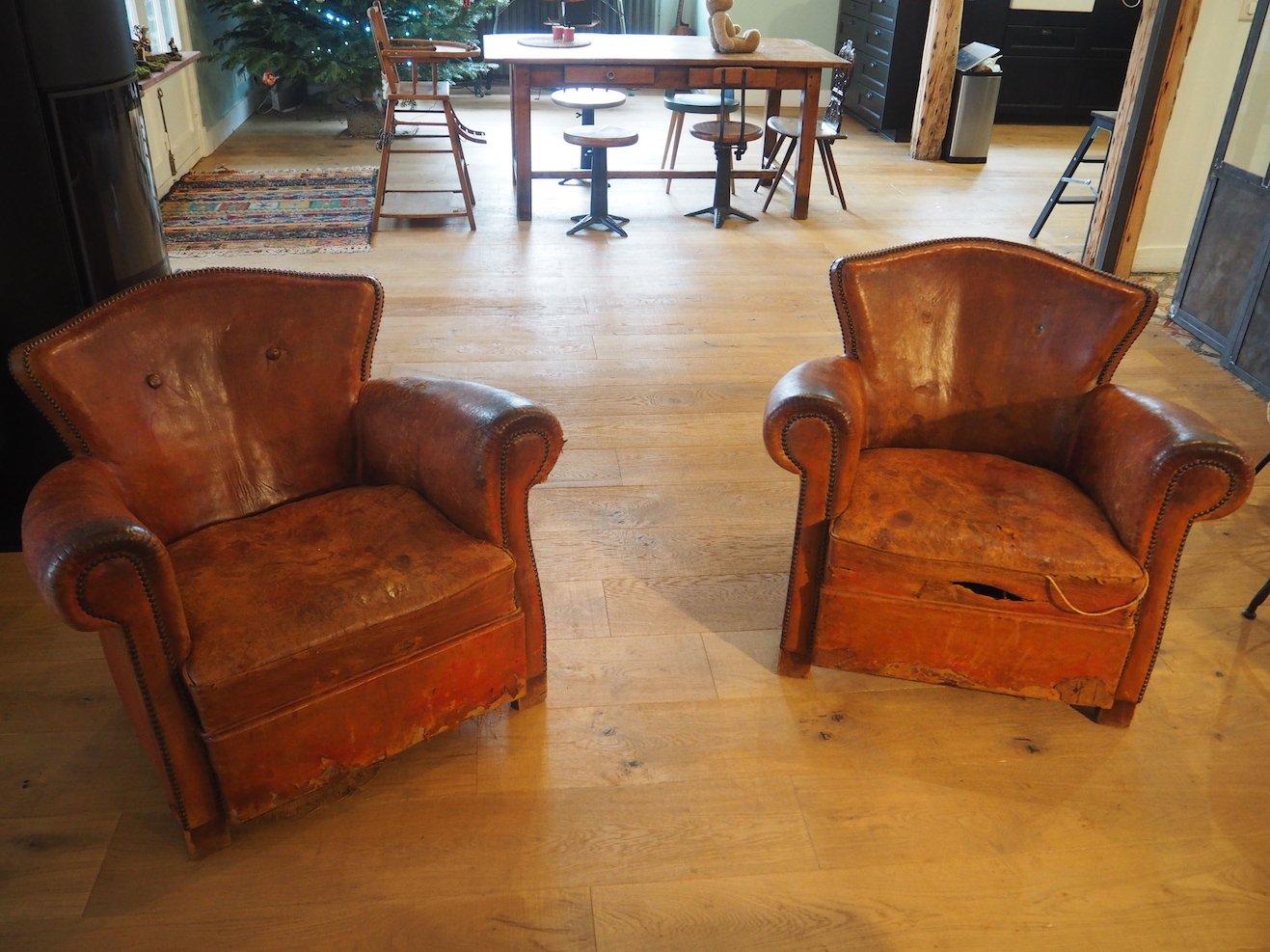 club sessel aus leder 1940er 2er set bei pamono kaufen. Black Bedroom Furniture Sets. Home Design Ideas
