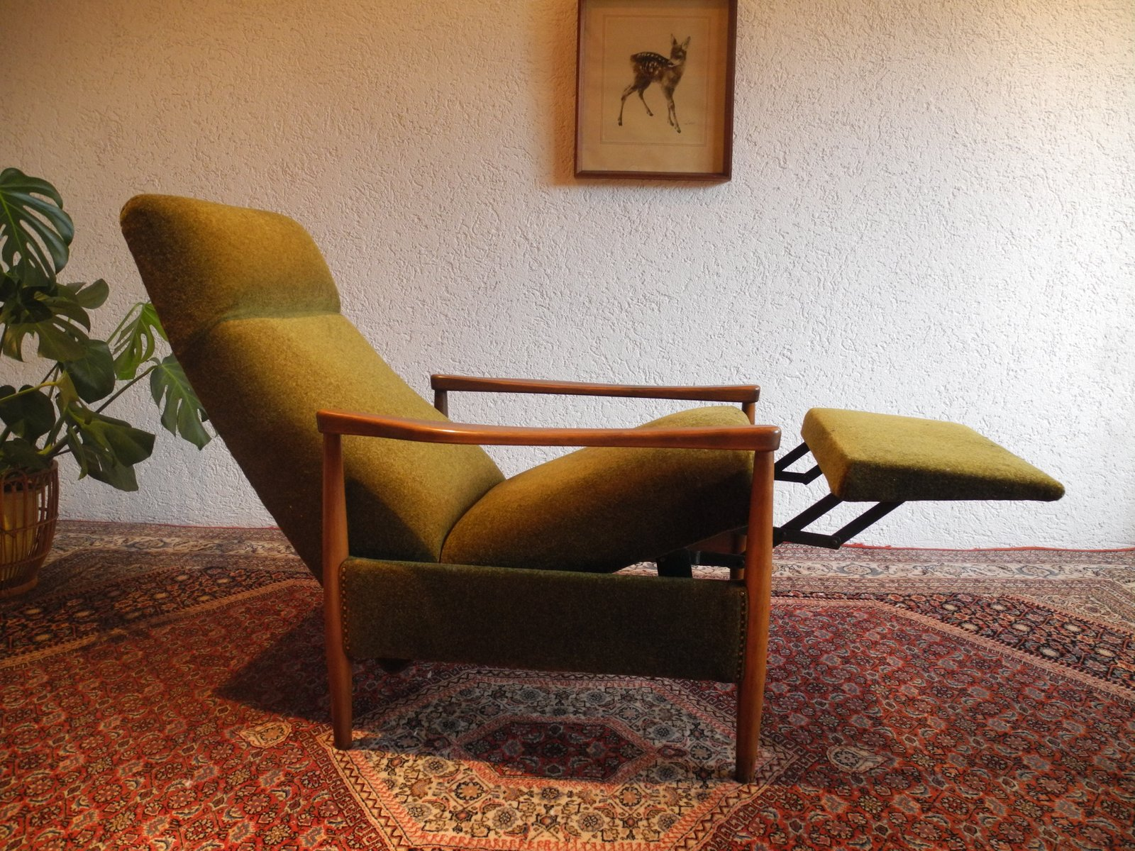 price per piece. large midcentury recliner chair with high backrest for sale at pamono
